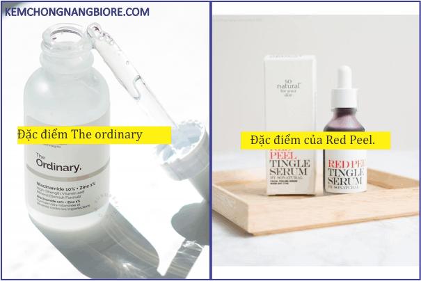 So sánh Red Peel và The Ordinary: Giá và Công Dụng